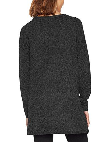 VERO MODA Damen Pullover Vmbrilliant LS O-Neck Long Blouse Noos, Schwarz (Black Detail:Melange), 34 (Herstellergröße: XS)