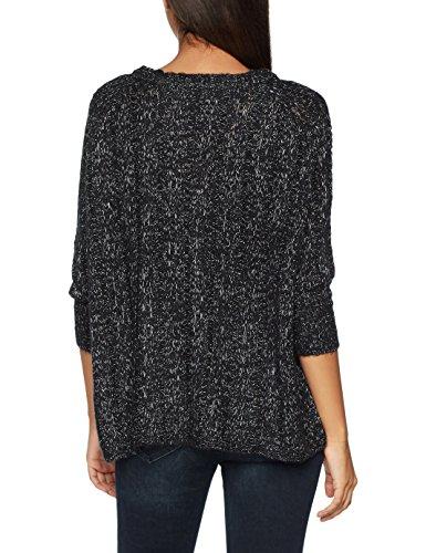 VERO MODA Damen Pullover Vmamanda Jive 3/4 Oversize Boatneck BO Schwarz (Black Detail:Melange), 36 (Herstellergröße: S)
