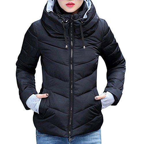 iBaste Mantel Damen Winterjacke mit Kapuzen Parka Steppjacke Wintermantel Herbstjacke Outwear-BK-L
