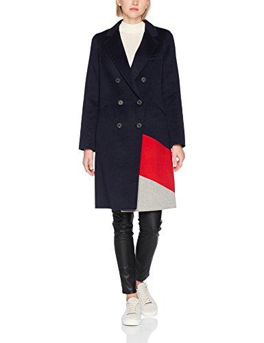 Tommy Hilfiger Damen Mantel Carmen Df Clr Block Wool Coat, Grau (Grey Htr / True Red / Midnight 901), 6