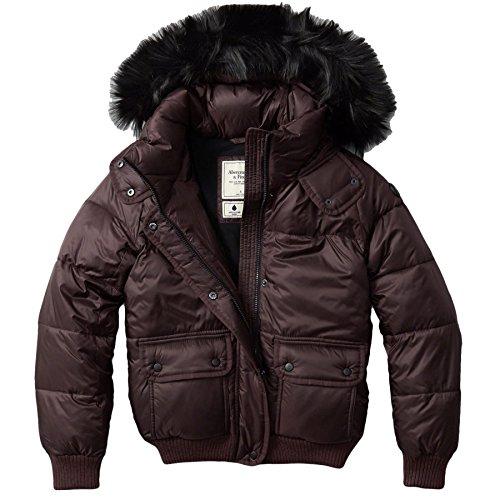 Abercrombie Damen Fur Trim Hooded Puffer Mäntel Jacke, Größe Medium, Weinrot (624449746)