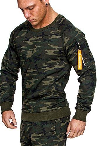 Amaci&Sons Herren Cargo Pullover Sweatshirt Hoodie Sweater Camouflage 4006