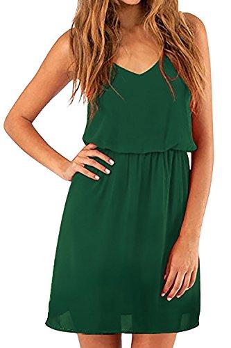 Cassiecy Damen Sommerkleid Elegant Ärmellos V-Ausschnitt Chiffon Casual Strandkleid Minikleid