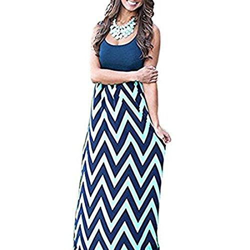 Cloudsemi Damen Sommerkleid Kleider Maxikleid Streifen Schulterfrei Rundhals High Waist Lang Kleid Partykleid