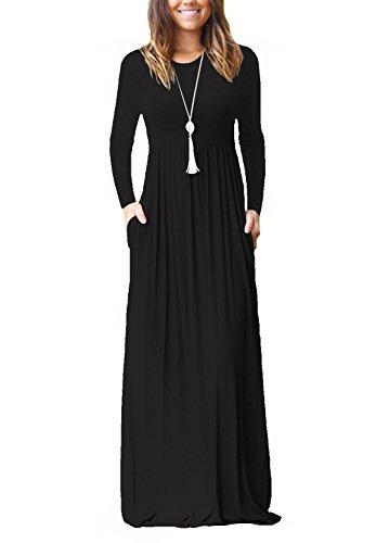 Dasbayla Damen Casual Lange Langarm Kleider mit Taschen