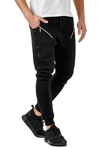 EightyFive Herren Jogginghose Sweatpants Zipper Gesteppt mit Seitentaschen Cargo Schwarz Weiß Grau EF305
