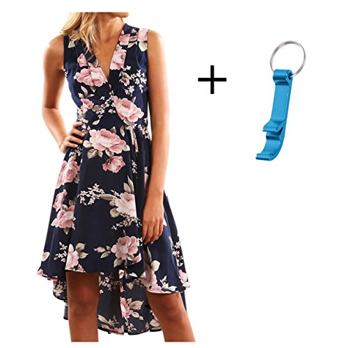 Elecenty Damen V-Ausschnitt Strandkleid Irregulär Sommerkleid Rock Mädchen Blumen Drucken Abendkleider Kleider Frauen…