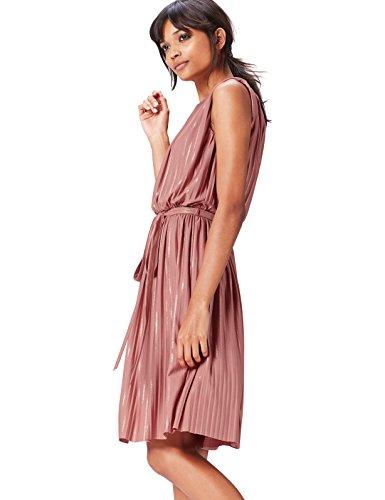 Amazon-Marke: find. Abendkleid Damen mit Plissee-Falten und Metallic-Fasern