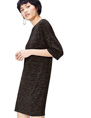 Amazon-Marke: find. Damen Kleid meliert mit halblangen Ärmeln