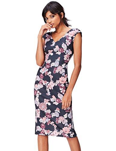 Amazon-Marke: find. Damen Midi-Schlauchkleid mit Blumenmuster