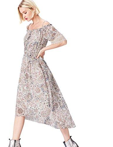 Amazon-Marke: find. Damen Schulterfreies Kleid mit Blumenmuster
