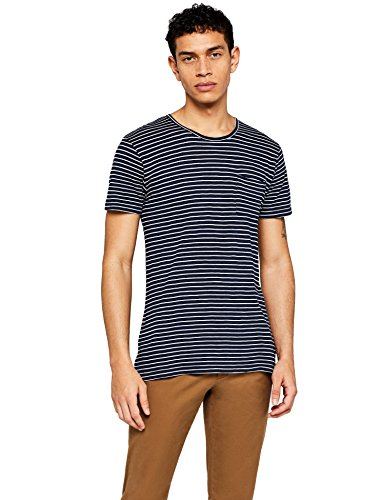 Amazon-Marke: find. Herren Gestreiftes T-Shirt mit Brusttasche