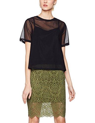 Amazon-Marke: find. Kleid Damen aus halbdurchsichtigem Mesh mit Unterkleid