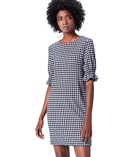 Amazon-Marke: find. Kleid Damen mit Vichy-Muster und halblange Ärmel
