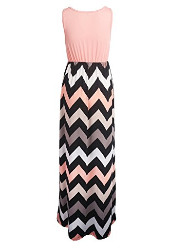 Très Chic Mailanda Sommerkleid Damen Partykleid Lang Chiffon High Waist Striped Sleeveless Beach Kleid Elegant