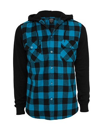 Urban Classics Herren Hooded Checked Flanell Sweat Sleeve Shirt Freizeithemd