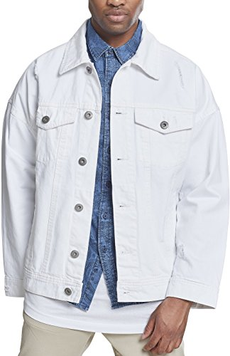 Urban Classics Herren Jacke Jeansjacke Ripped Denim Jacket im Used Look