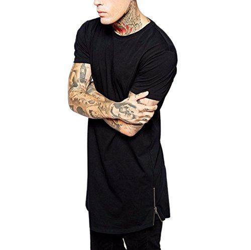 Semen Herren Männer Lange Reißverschluss T-Shirt Streetwear Hip Hop Bluse Hemd Poloshirt Slim Fit Schwarz