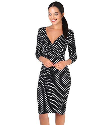 KRISP Damen Klassische Sommerkleider Leichte Jersey Wickelkleider V-Ausschnitt