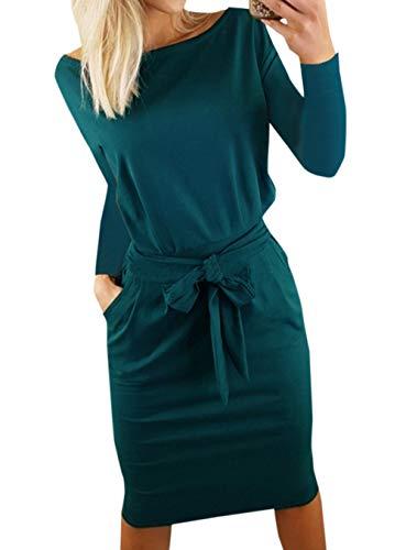Ajpguot Damen Freizeit Kleid mit Gürtel Elegant Rundhals Midi Kleider Blusenkleider Ballkleid Festkleid Frauen Langarm…