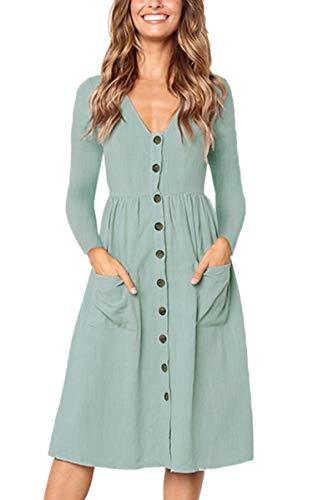 Angashion Sommerkleid Kurzarm Lässige Strandkleid A Line Partykleid mit Taschen Taste