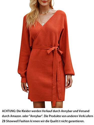 Annybar Damen Kurz Strickkleid Herbst Rückenfrei Langarm Kleid