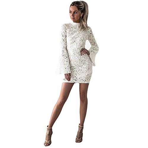 Bekleidung Loveso Kleid Sommerkleider Herbst Kleidung Damen Mode Weiße Spitze Breathable Slim Minikleid Lange Ärmel…