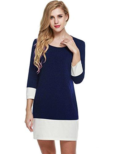 Beyove Damen Causal Farben Block Etuikleid 3/4 Ärmel Patchwork Herbst Kleid mit Seitentasche