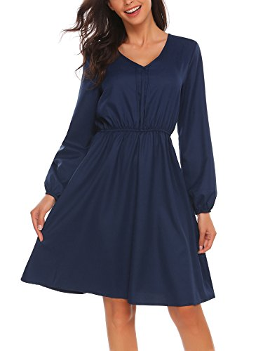 Beyove Damen Elegant Langarm Freizeitkleid Rockabilly Kleid A Linie Abendkleid Casual Kleid Skaterkleid Cocktailkleid…