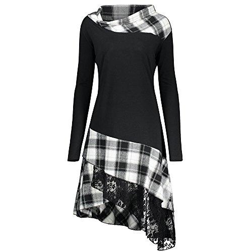 CHARMMA Damen Übergröße Mock Neck Top Asymmetrisch Spitzen Bluse Langarm Kleid