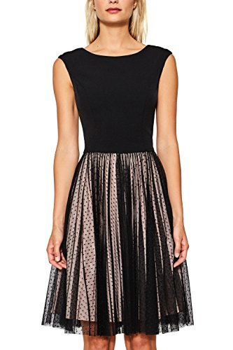 ESPRIT Collection Damen Kleid 087EO1E019, Mehrfarbig (Black 001), 42