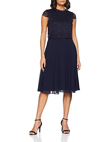 ESPRIT Collection Damen Kleid 108EO1E011, Blau (Navy 400), 42