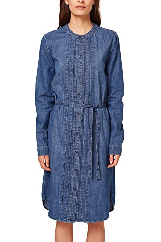 ESPRIT Damen Kleid 088EE1E021, Blau (Blue Medium Wash 902), Large