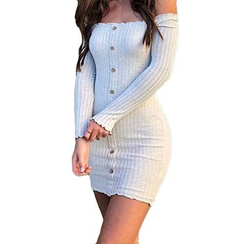 Hirolan MiniKleid Damen Frühling Sommer Herbst Kleider Spitze Lange Ärmel Schulterfreies Kleid Weißes Strandkleid Swing…