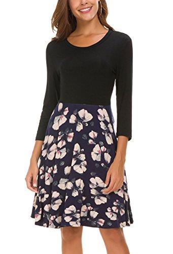 Kormei Damen Skaterkleid Basic Rundhals 3/4-Arm Fattern Stretch Party Strandkleid Knielang Kleid