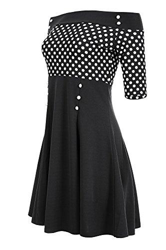 Laeticia Dreams Damen Petticoat-Kleid im Matrosen-Look S M L XL XXL, Größe:36, Farbe:Schwarz/Weiß Punkte Klein
