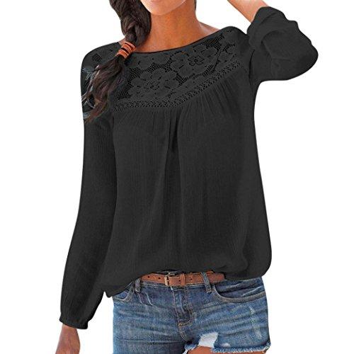 Langarmshirt Damen Bluse Pullover Frauen Beiläufig T-Shirt Lange Ärmel Pullover Spitze Patchwork Blusen Shirt Chiffon…