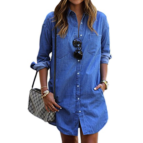 LnLyin Damen Jeans Hemd Herbst Denim Kleid Langärmeligen Einreihigen Jeans Hemd Jeans M