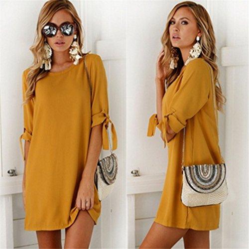 LnLyin Mode Damen Chiffon Kleid Beliebten Herbst Abschnitt Ärmel Rundhals Kleid Fashion Kleid Orange XL