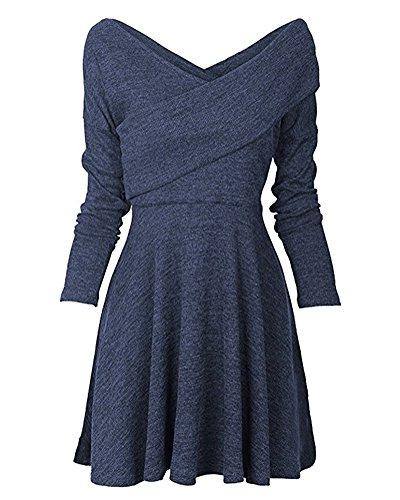 Minetom Damen Herbst Winter Strickkleid Casual Langarm Tunika Kleid Basic V-Ausschnitt Minikleid A-Linie Jumper Kleider