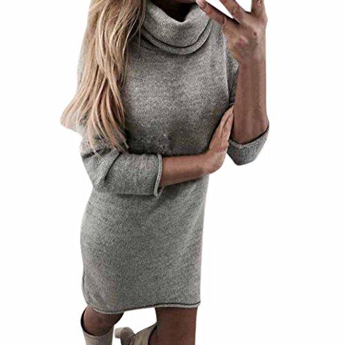 Pulli Kleid Damen, Winter Mode Frauen Fester Rollkragen Strickjacken Langes Beiläufiges Langes Hülsen Pullover Kleid…