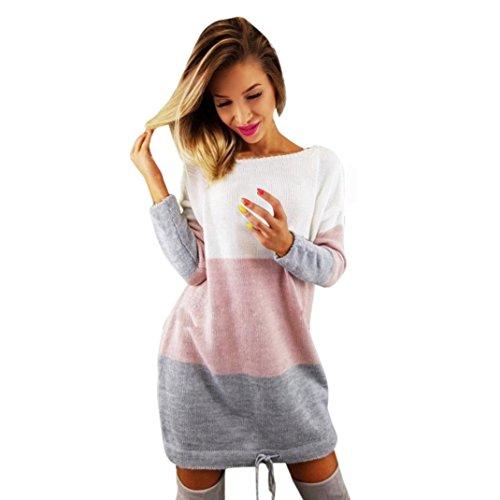 TWIFER Damen Herbst Winter O Kragen Stricken Partei Langarm Kleid Sweater
