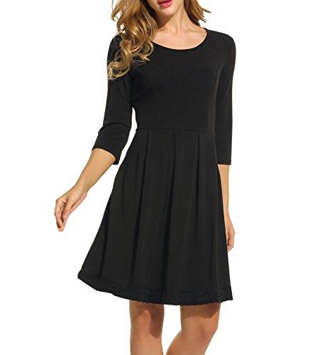 trudge Damen Sommerkleid A Linie Vintage Blumen Skaterkleid Swing Festlich Kleid Schleife Kurzarm Blusenkleid mit Gürtel…