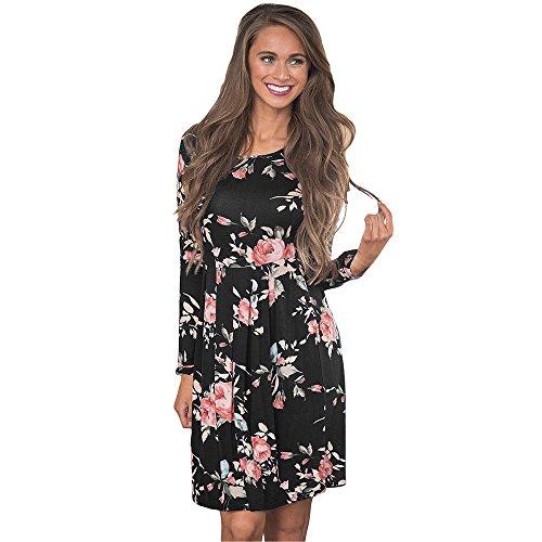 Vruan Frauen Casual Kleid Blumendruck Langarm A-Linie Kleider 4 Farbe Größe 32-40