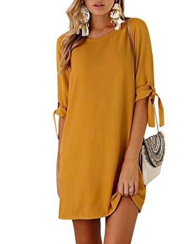YOINS Blusenkleid Damen Herbst Kleider Rundhals Winterkleid für Damen Langarm Minikleid Lose Tunika mit Bowknot Ärmeln