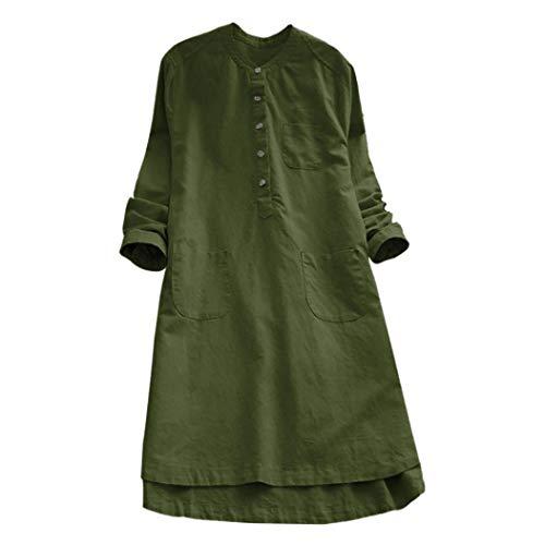 Yanhoo Damen Retro Rundkragen Langarmshirt Leinen Herbst Lässige Loose Bluse Tops Button Mini-Shirt Kleid M~3XL