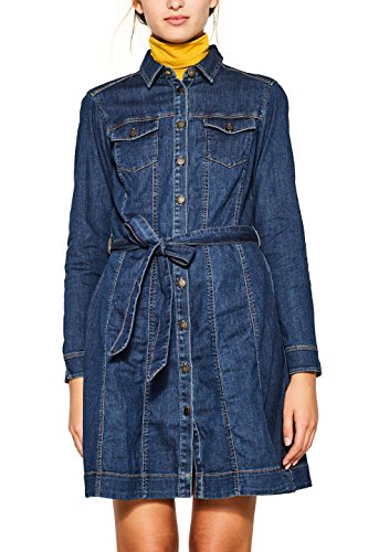 edc by ESPRIT Damen Kleid 107CC1E022, Blau (Blue Medium Wash 902), Small