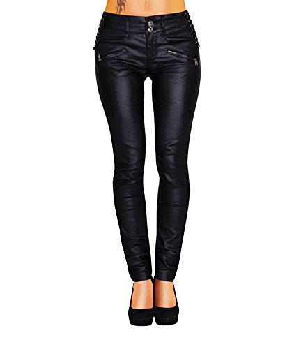 Damen Bootcut Hose Leder-Optik Skinny (428)