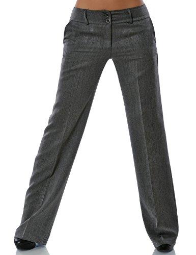 Damen Business Hose Straight Leg Gerades Bein Stoffhose DA 13572