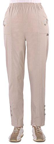FASHION YOU WANT Damen Elegante Stretchhose mit Elasthan und Knopfapplikationen Übergröße Gr. 40/42 42/44 44/46 46/48 48…